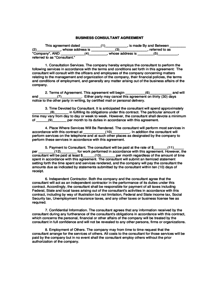 business consultant agreement template free download