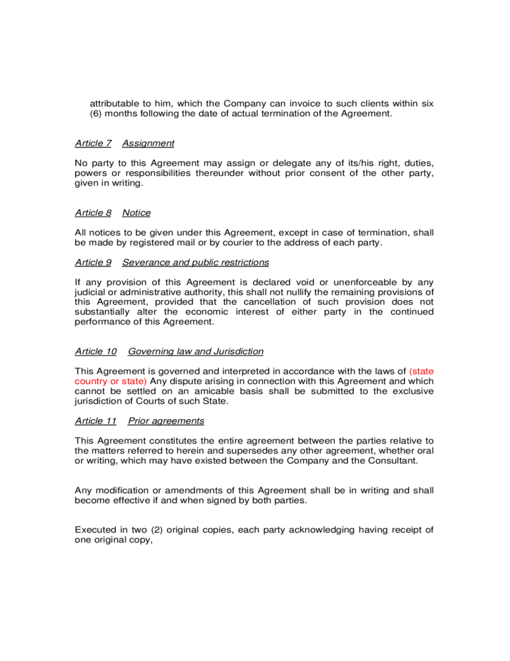 Sample Consultancy Agreement