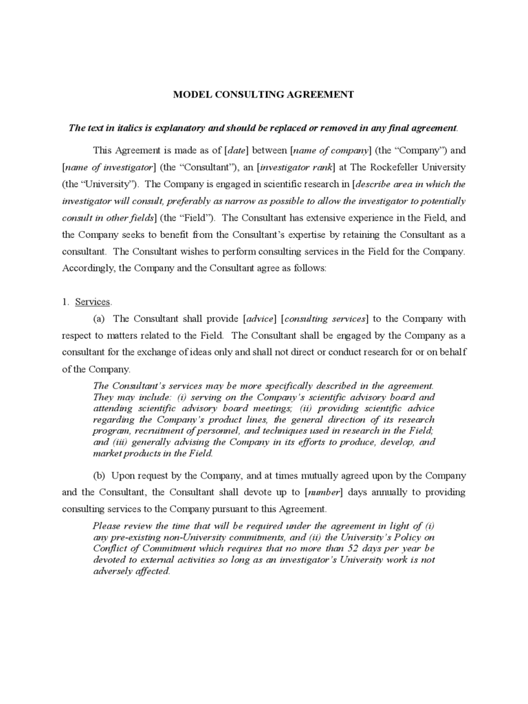 MODEL CONSULTING AGREEMENT