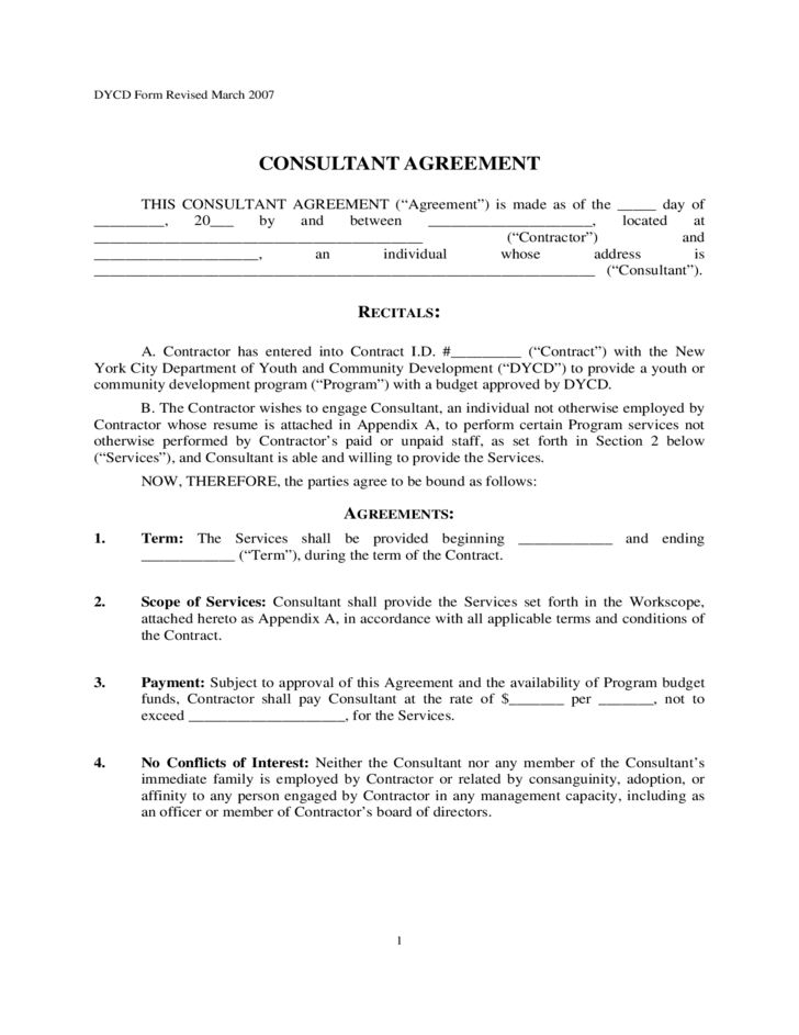 Consultant agreement new york city free download for Consultation contract template