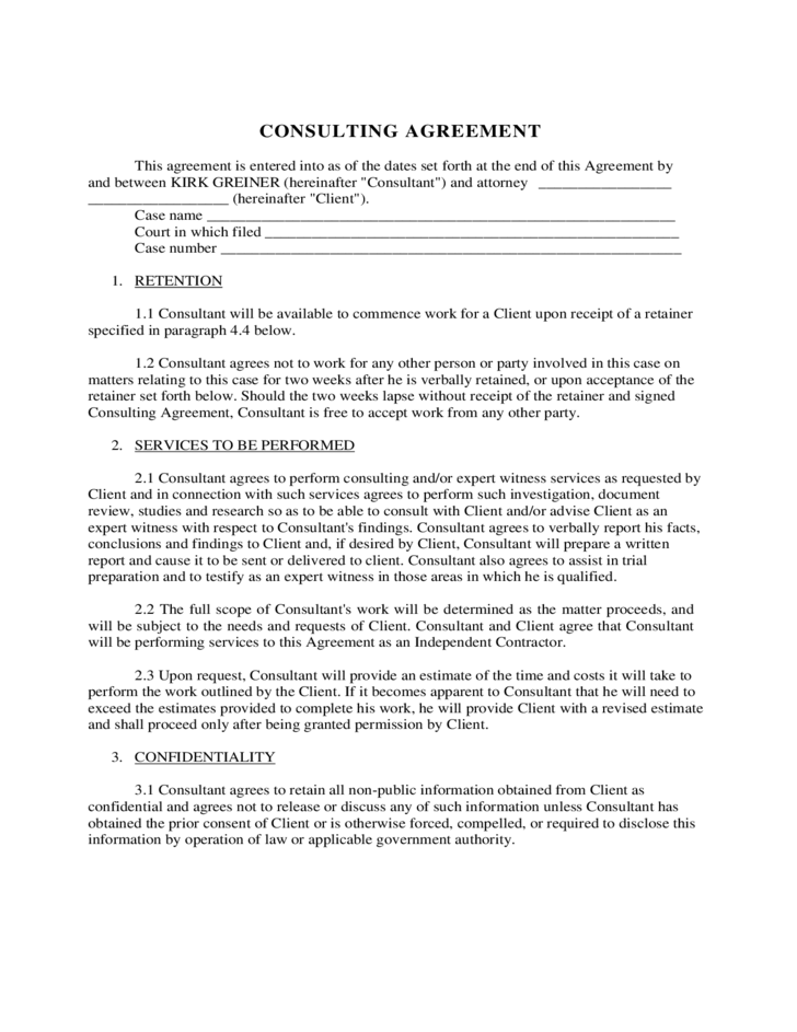 consultant contract template free download - consulting agreement free download