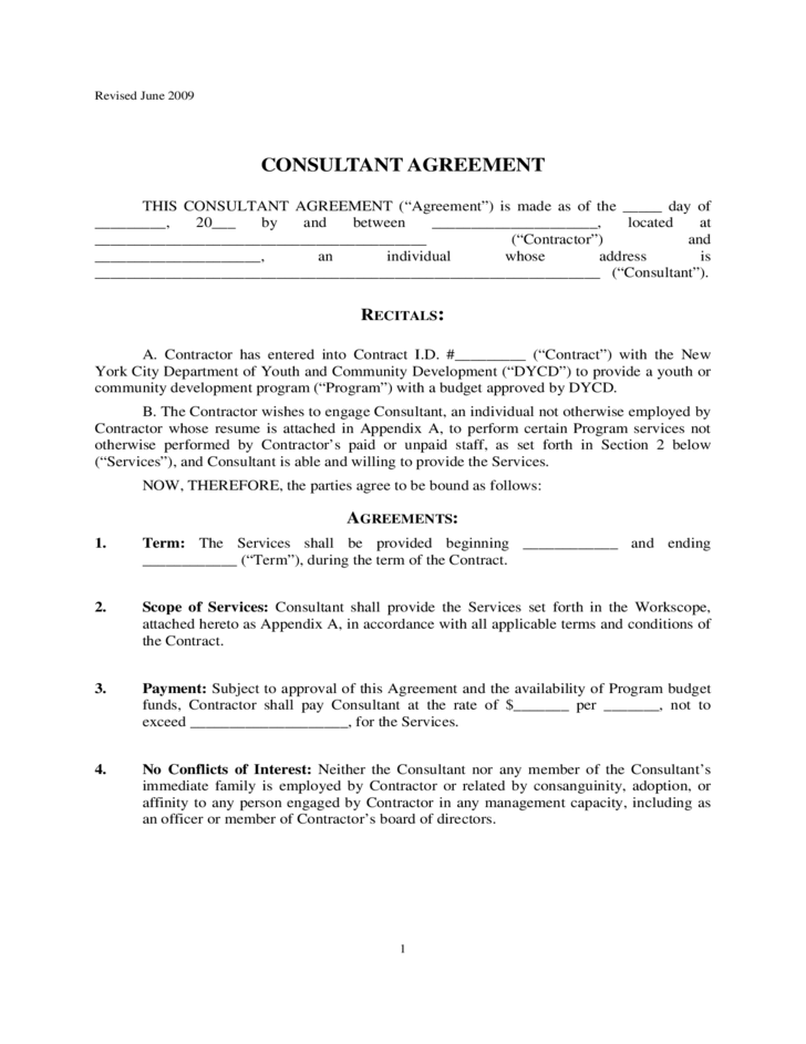 CONSULTANT CONTRACT AGREEMENT - New York City