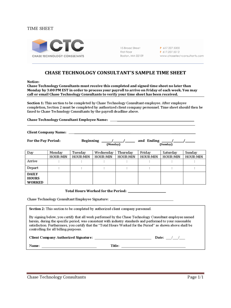 Sample Consultant Time Sheet