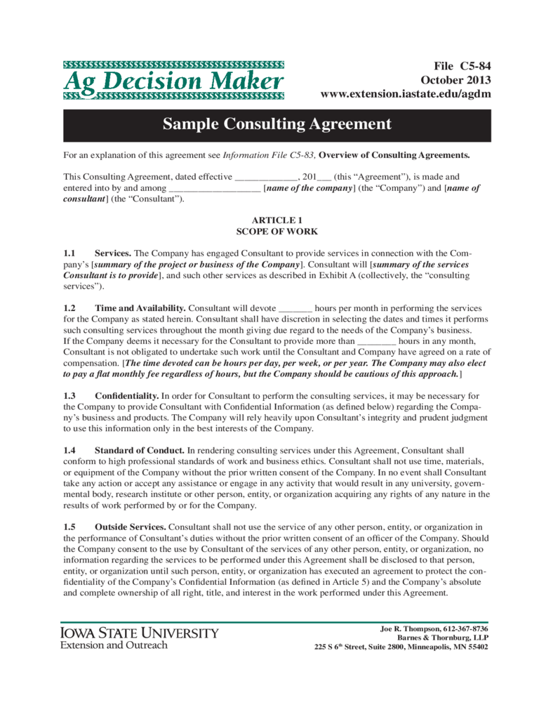 Sample Consulting Agreement Form - Iowa State University