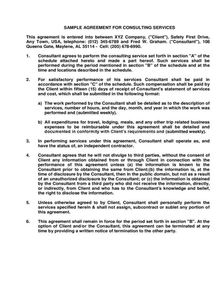 Consulting Agreement Form 6 Free Templates In PDF Word