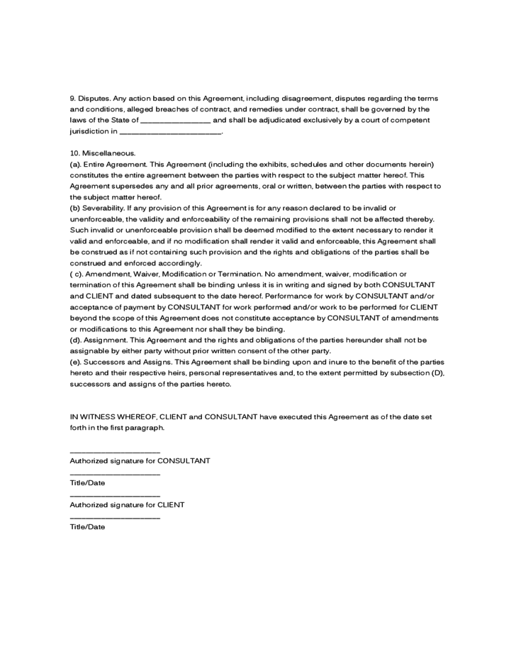 it consultant contract template - sample agreement consulting agreement free download
