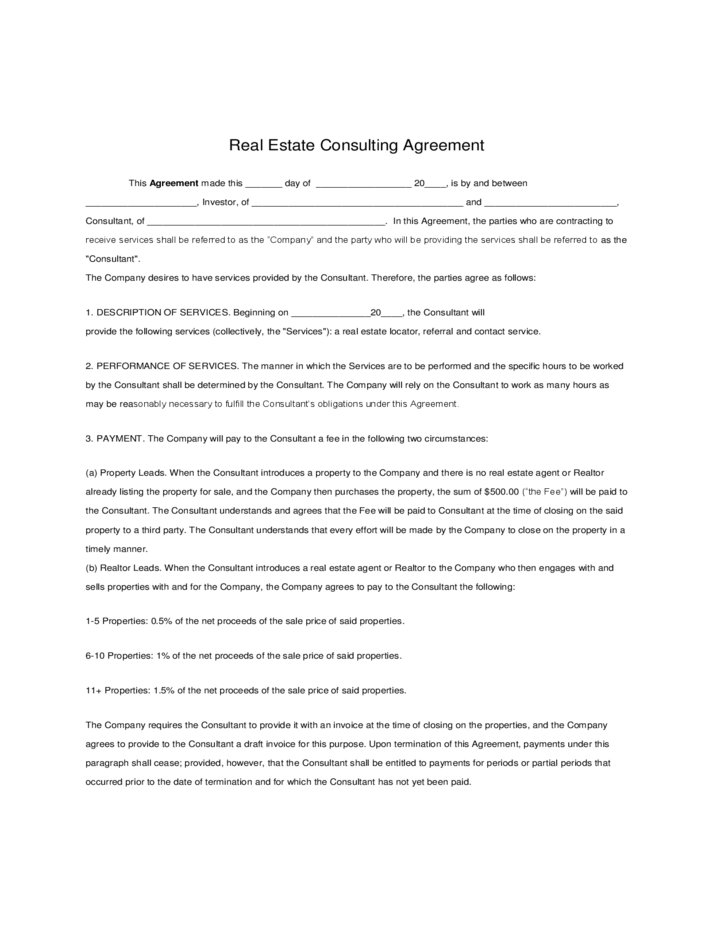 Real Estate Consulting Agreement Free Download – Sample Real Estate Consulting Agreement Template
