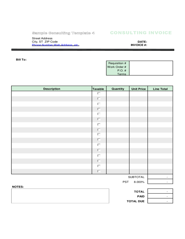 Basic Consulting Invoice Template Sample