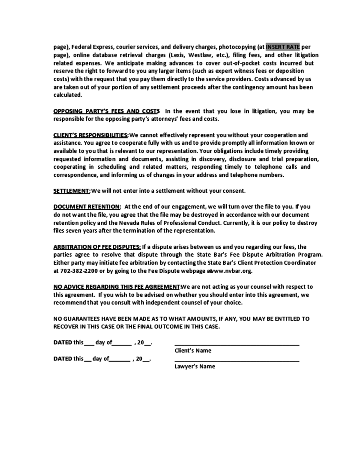 sample contingent fee agreement