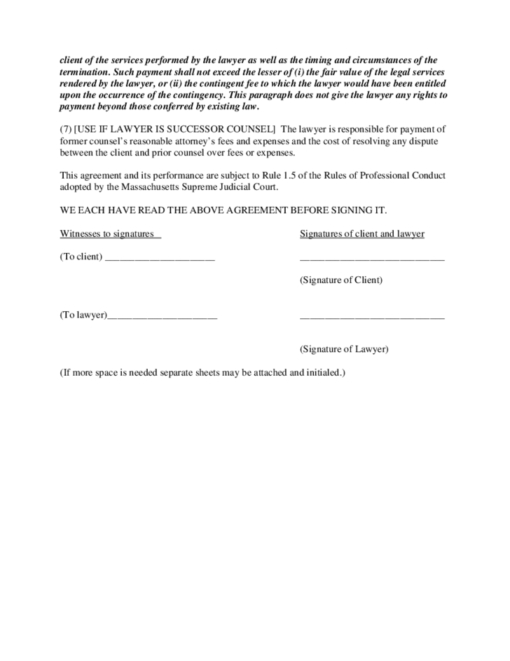 Continent Fee Agreement Form Massachusetts Free Download