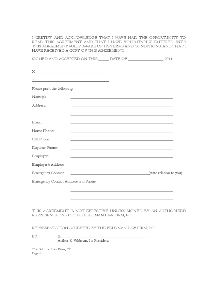 Standard Contingent Fee Representation Agreement Free Download