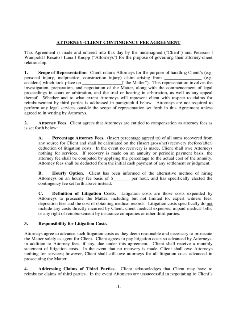 Contingency Fee Agreement Form - 7 Free Templates in PDF, Word ...
