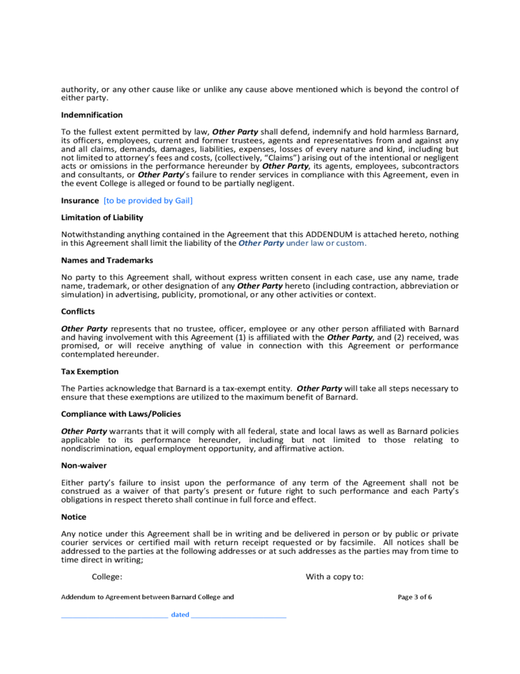 Contract addendum template barnard college free download for Construction addendum template