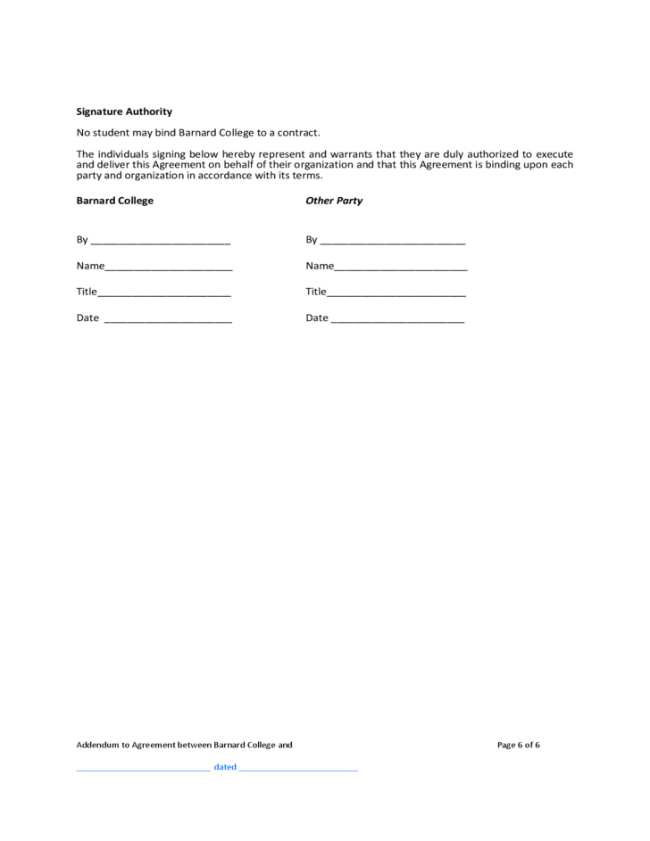 Contract Addendum Template Barnard College Free Download
