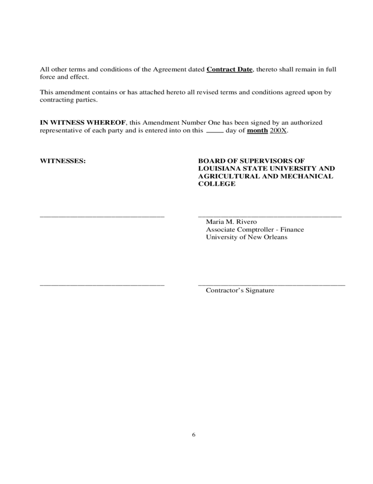 Sample Contract Amendment Template Free Download