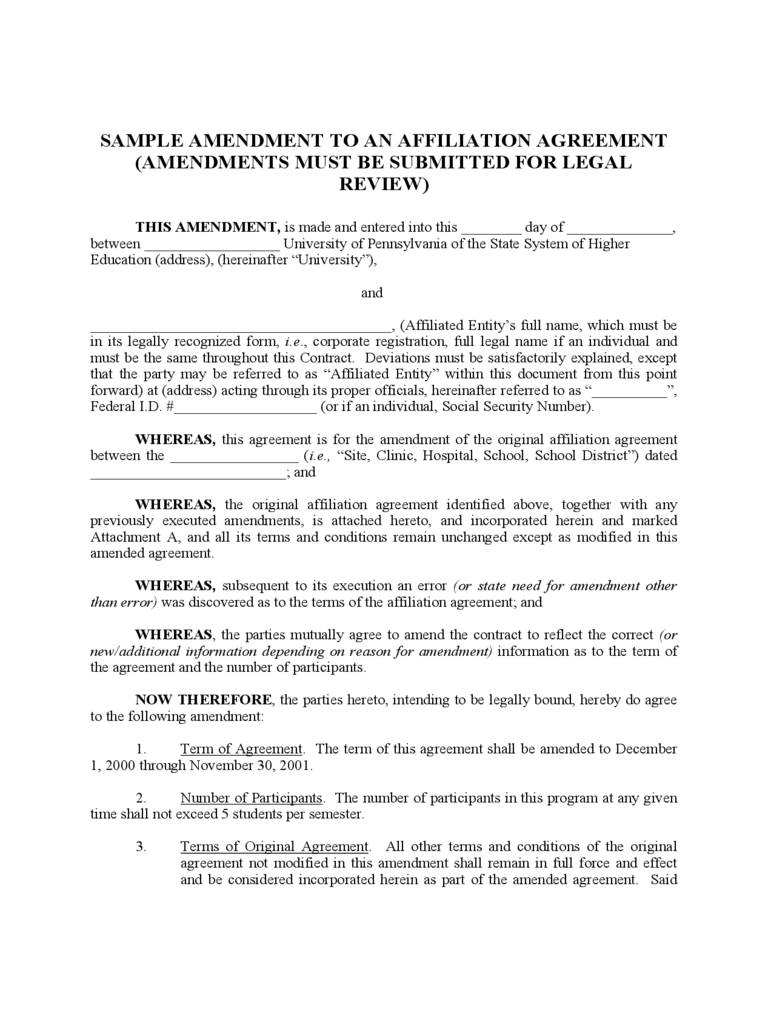 Contract Amendment Template - 6 Free Templates in PDF, Word, Excel ...