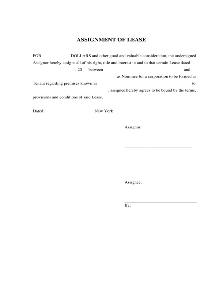 assignment regarding lease contract understanding commercial