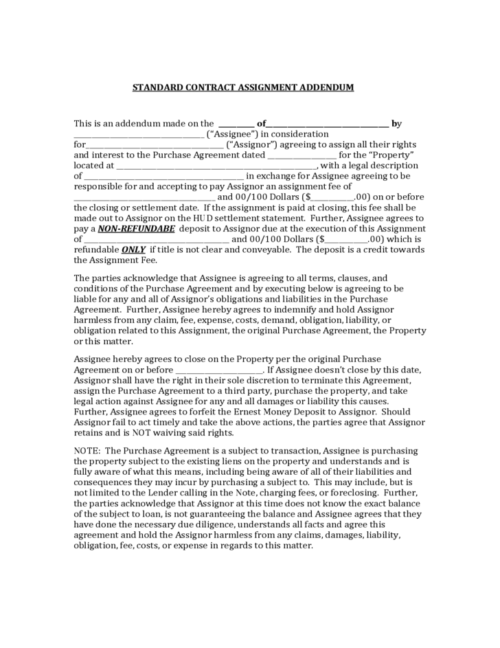 Contract Assignment Agreement - Template, Sample Form