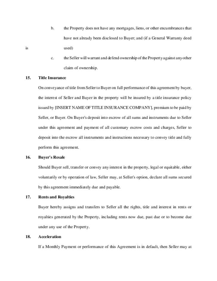 Sample Contract for Deed Free Download