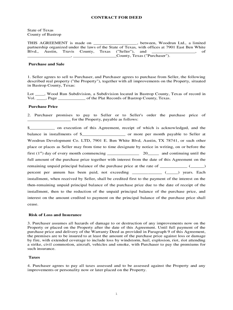 Contract For Deed Form 5 Free Templates In Pdf Word Excel Download