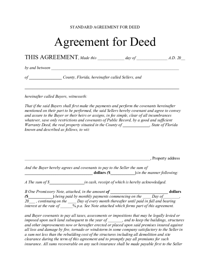 standard agreement for deed florida free download