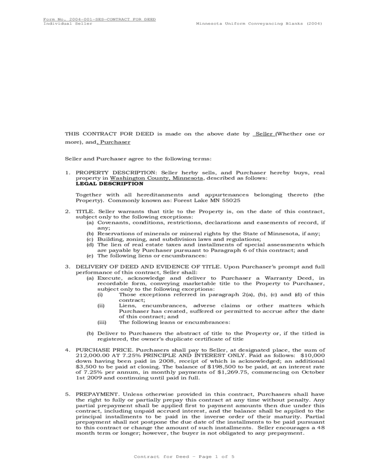 Contract For Deed Minnesota Free Download