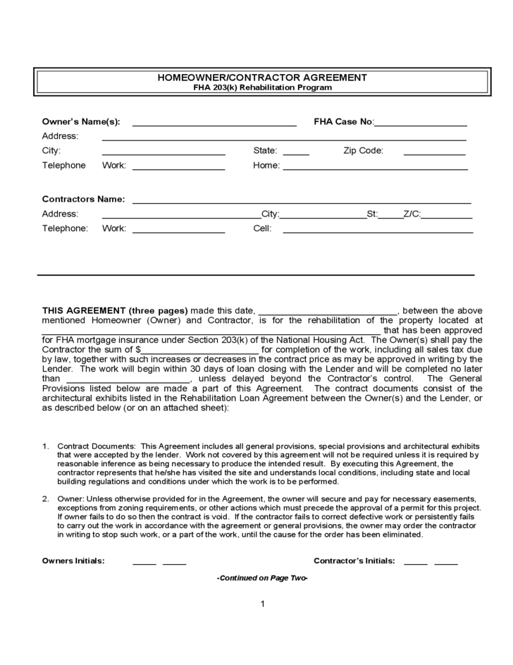 Homeowner Or Contractor Agreement Free Download