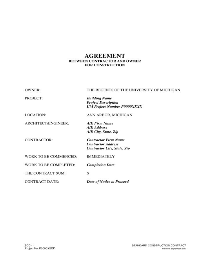 Agreement Between Contractor And Owner Free Download