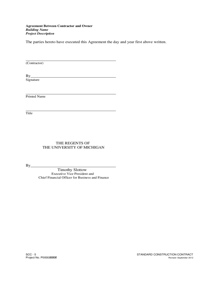 Agreement Between Contractor And Owner Free Download - Agreement between owner and contractor template
