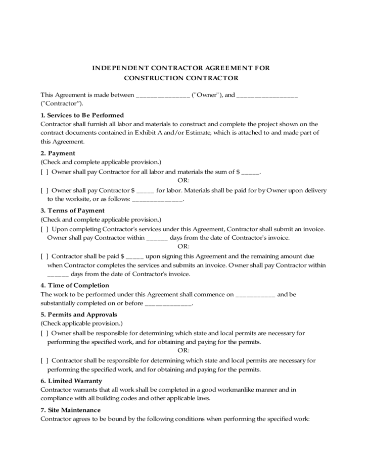 INDEPENDENT CONTRACTOR AGREEMENT FOR CONSTRUCTION Free Download