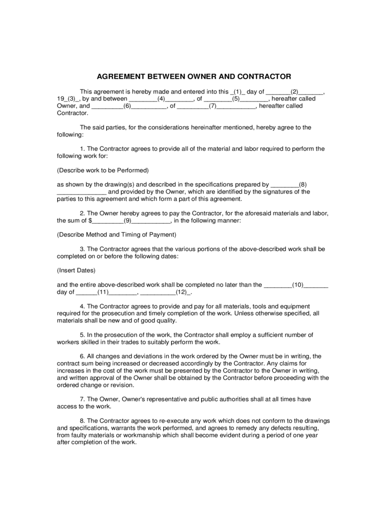 AGREEMENT BETWEEN OWNER AND CONTRACTOR