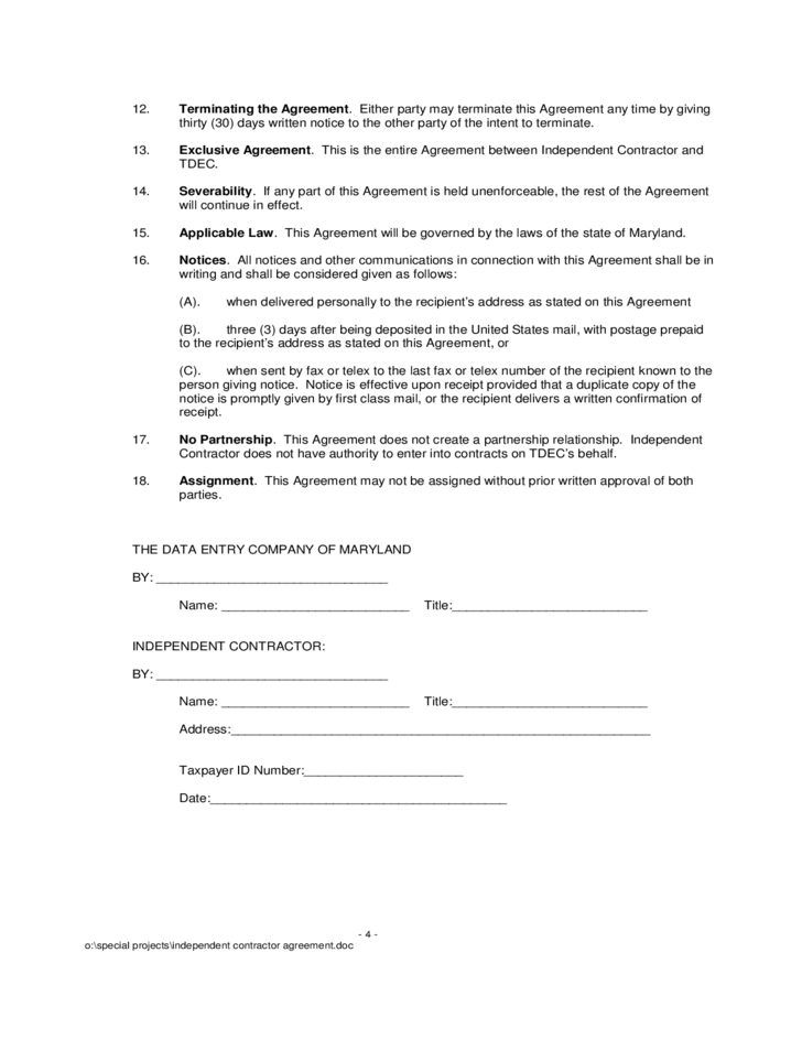 independent contractor agreement form free download