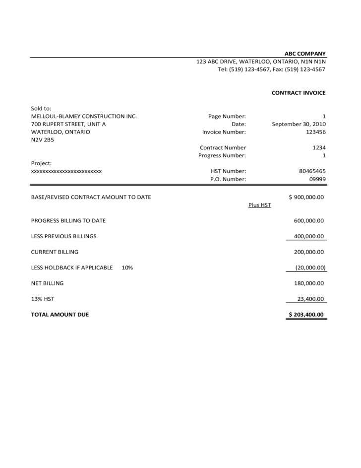 sample contractor invoice template