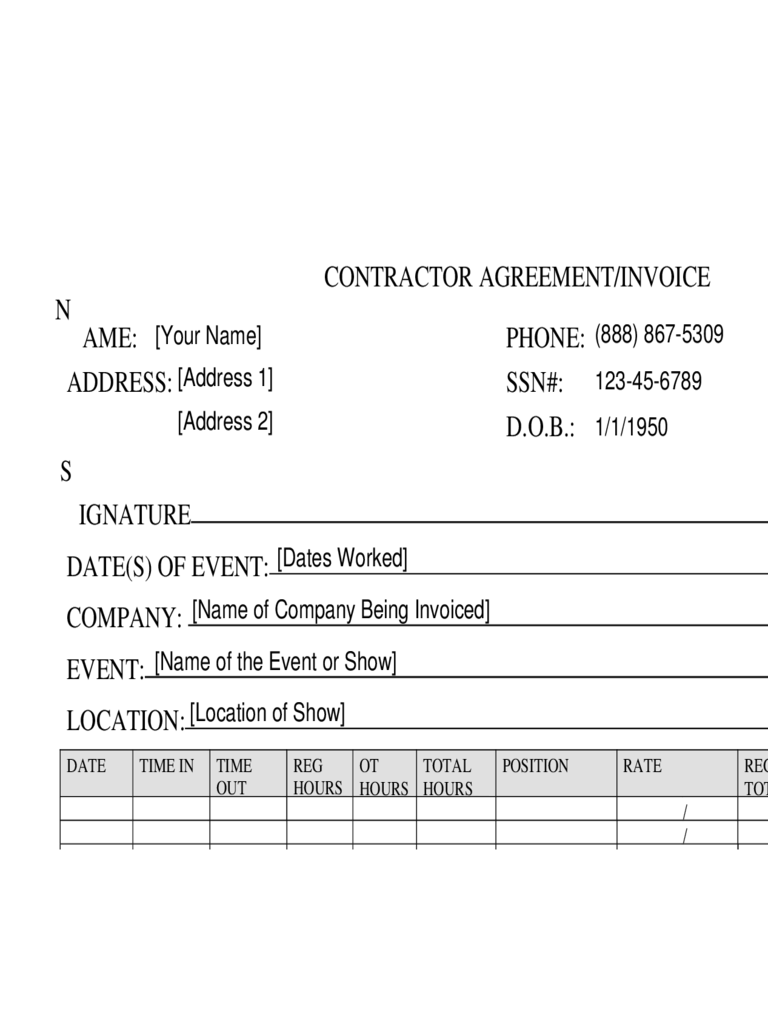 narcotic contract template - contractor invoice template 2 free templates in pdf