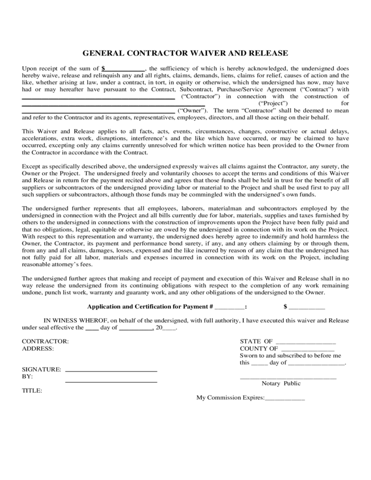 1 General Contractor Waiver And Release Form  Liability Contract Template