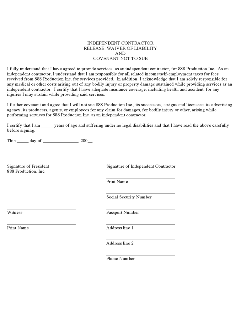 Contractor Liability Waiver Form 2 Free Templates in PDF Word – Waiver of Liability Form Free