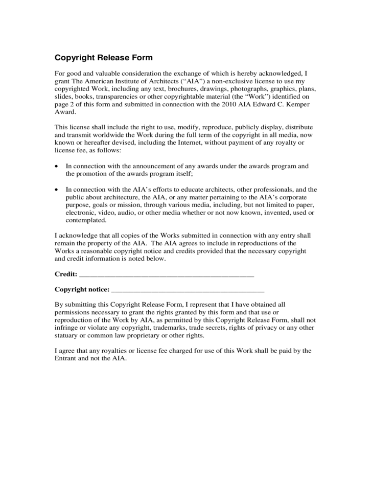 Simple Copyright Release Form Free Download – Simple Release Form