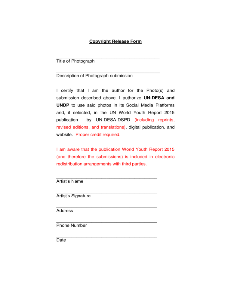 Copyright release form 2 free templates in pdf word for Photographer copyright release form template