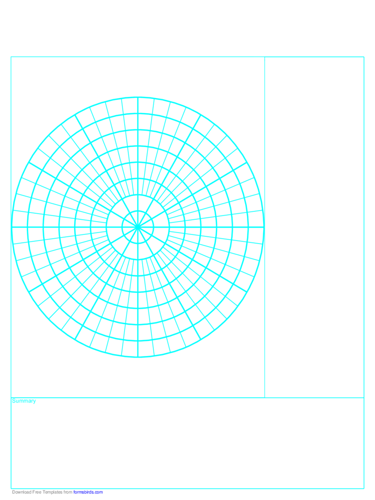 Cornell Note Paper with Polar Grid - Reversed