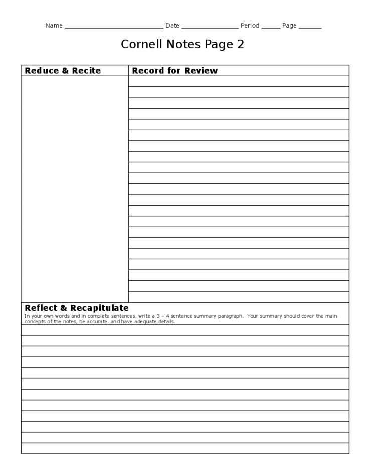 Best Cornell Notes Template Free Download