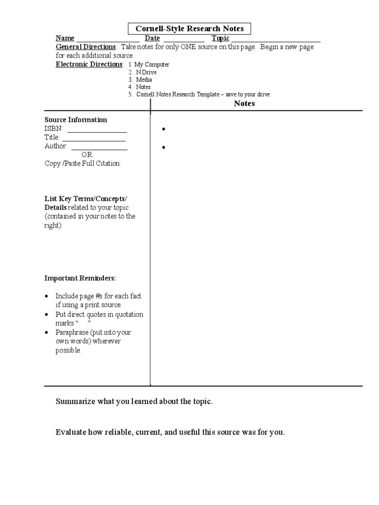 Cornell Notes Template - 8 Free Templates in PDF, Word, Excel Download