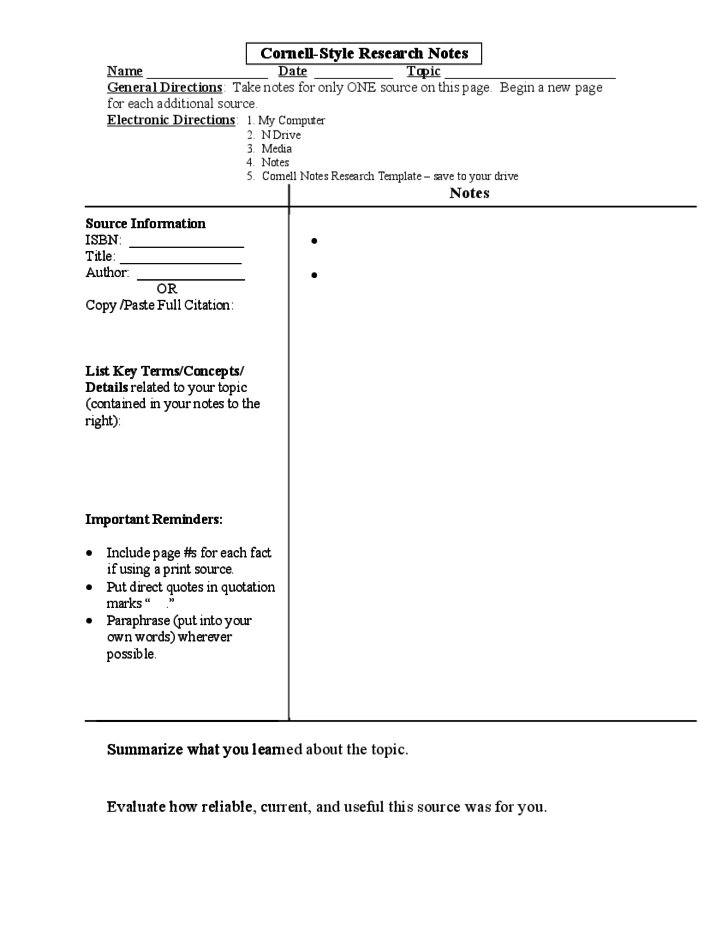cornell notes research paper Cornell notes will help students pay attention in class and retain more information learn how to use this easy system and download a free template.