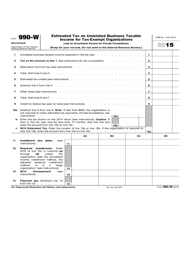 Estimated Tax on Unrelated Business Taxable Income for Tax-Exempt Organizations
