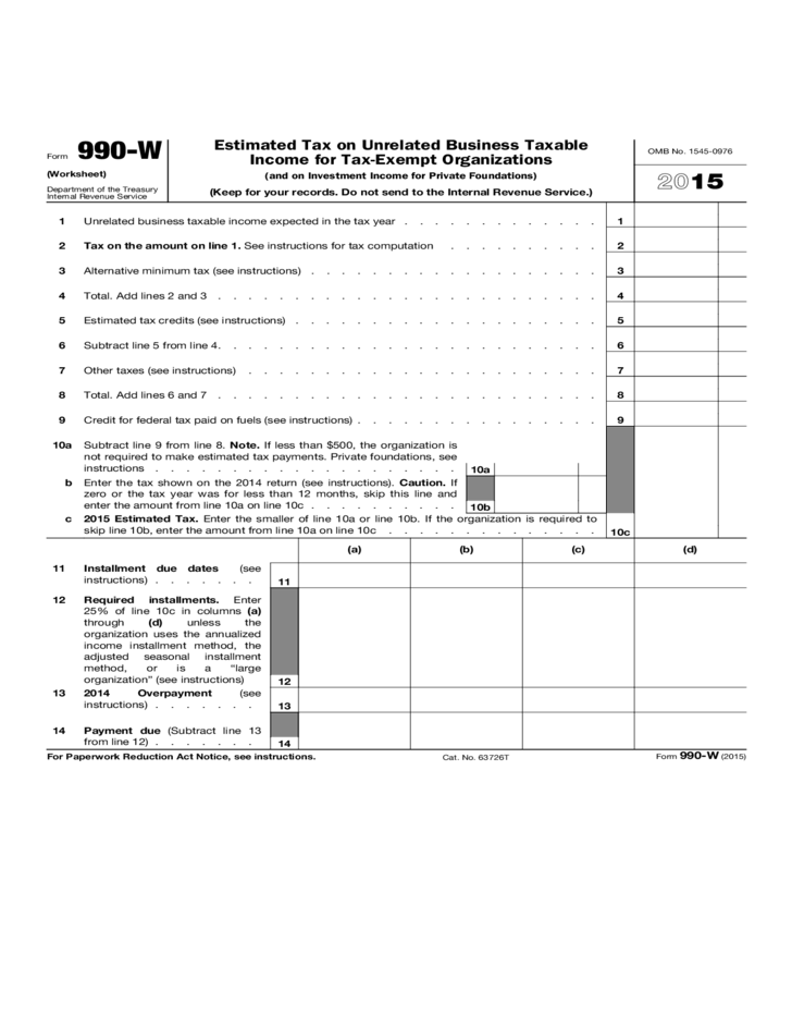 Estimated Tax on Unrelated Business Taxable Income for TaxExempt – Tax Computation Worksheet 2014