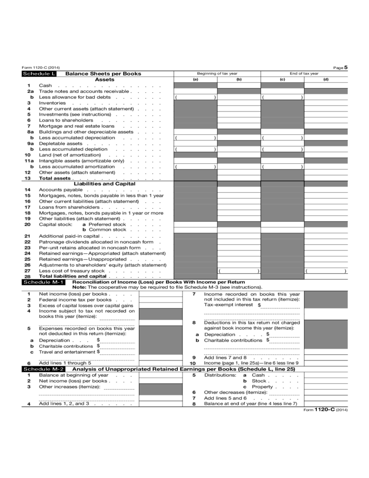 form 1120 c u s income tax return for cooperative associations