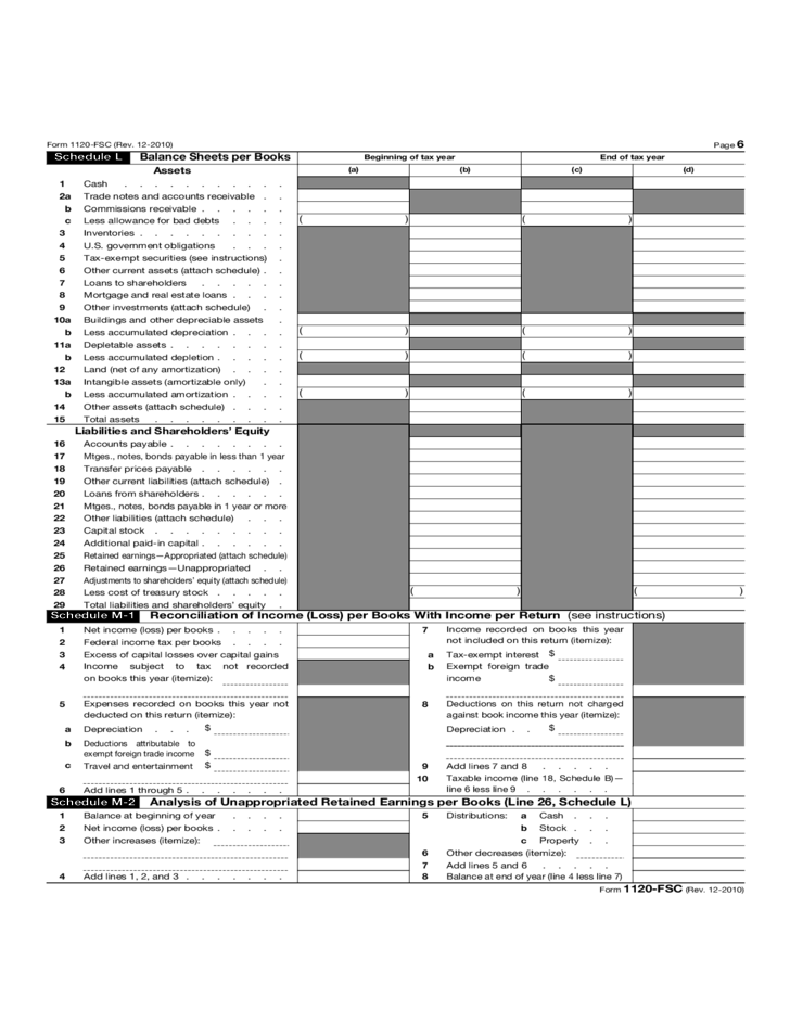 Form 1120 Fsc Income Tax Return Of Foreign Sales Corporation 2012