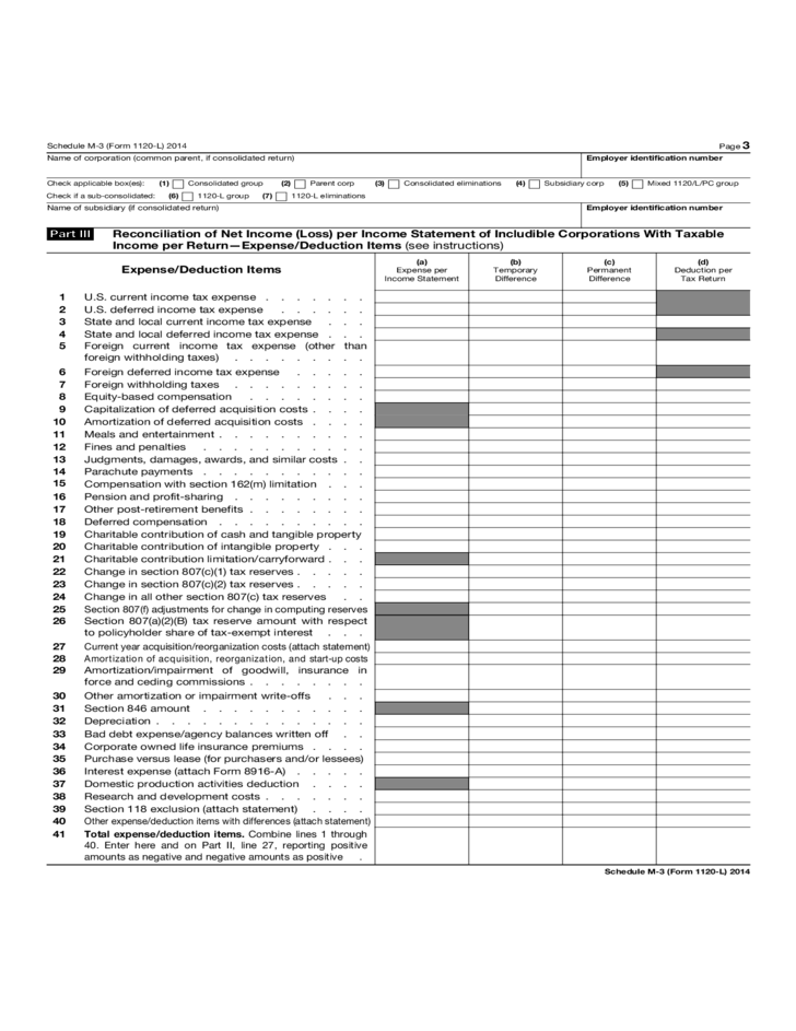 Form 1120 L Schedule M 3 Net Income Reconciliation For