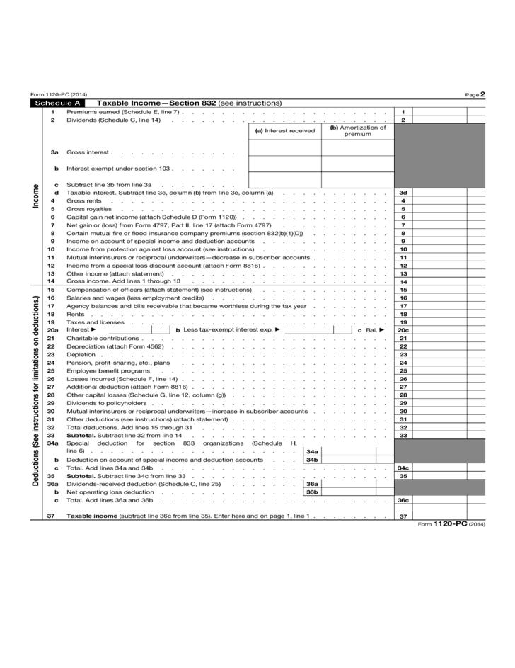 Form 1120 Pc Us Property And Company Income Tax Return 2015