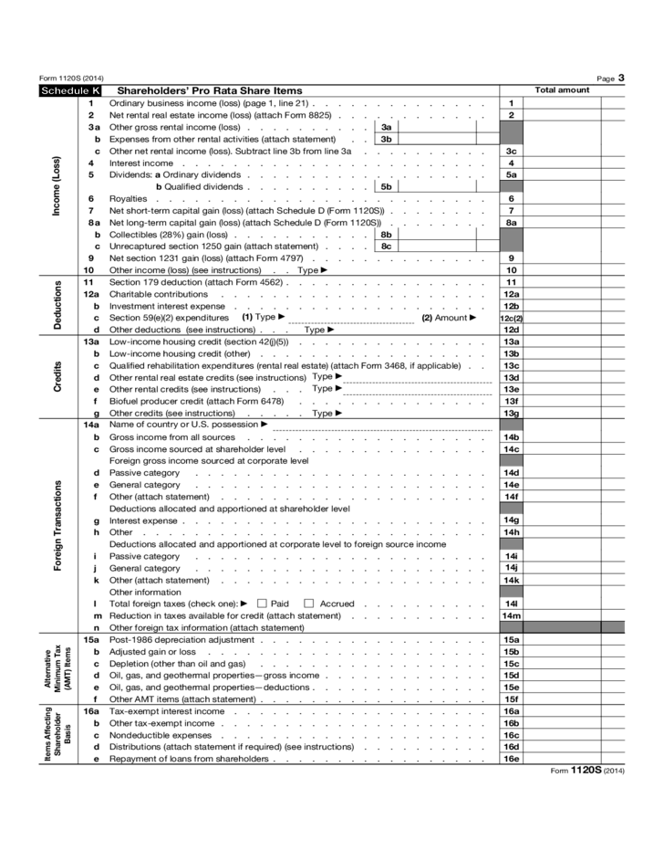Form 1120 S Income Tax Return For An S Corporation 2013 Free