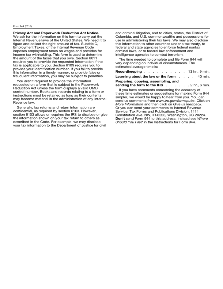 Form 944 Employers Annual Federal Tax Return 2015 Free Download
